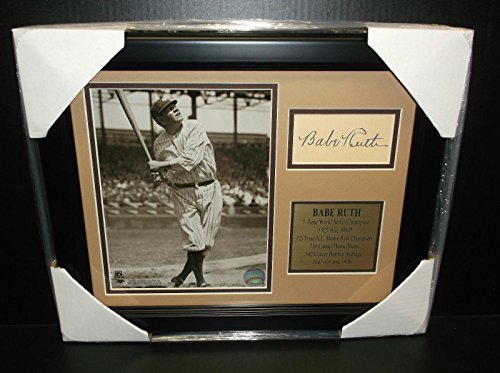 Babe Framed Ruth (Signed Babe Ruth Picture - Cut Facsimile Reprint Framed 8x10 - Autographed MLB Photos)