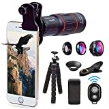 Apexel Telephoto Lens, 18X Zoom Lens + iPhone Tripod Kit - Camera Phone Lens Kit,18X Telescopic, Fisheye, Macro, Wide Angle Lens + Phone Tripod +Remote Shutter for iPhone X 8 7 6 Samsung Smartphone