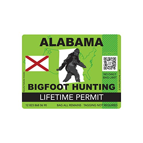 Alabama Bigfoot Hunting Permit Sticker Die Cut Decal Sasquatch Lifetime FA Vinyl