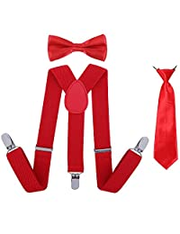 Boys Suspender Bowtie Necktie Sets - Adjustable Elastic Classic Accessory Sets for Boys & Girls (Hot Red)