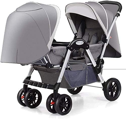 TZZ Double Stroller Tandem Seats with 5-Point Safety System for Newborn and Toddlers (Color : Gray)