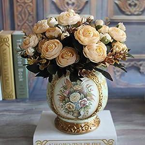 MZjJPN 6 Branches Artificial Flower Fake Peony Vivid 6 Head Autumn Home Room Bridal Hydrangea Decor 28
