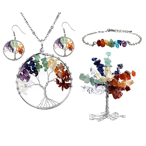 (Top Plaza 7 Chakra Tree of Life Crystals Jewelry Decor Set - Copper Wire Wrap Tree of Life Tumbled Stones Pendant Necklace & Earrings & Crystal Money Tree & Gemstone Bracelet for Lover)