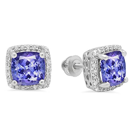 10K White Gold Cushion Cut Tanzanite & Round Cut White Diamond Ladies Square Halo Stud Earrings - White Gold Diamond Tanzanite Earrings