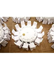 SPRINGROSE Ecoluxe 120 inch Round White Tablecloth 10 Set | Sleek & Elegant Touch, Crease & Wrinkle Resistant Polyester | for Wedding Receptions, Banquets, Restaurants, Showers, and Parties