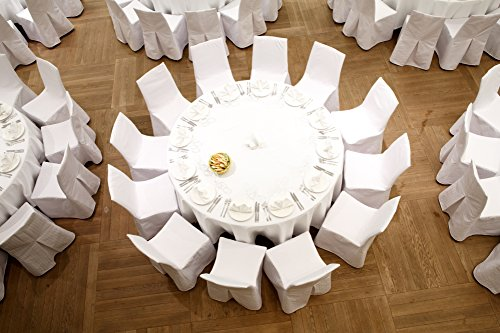 (SPRINGROSE Ecoluxe 120 inch Round White Tablecloth 10 Set | Sleek & Elegant Touch, Crease & Wrinkle Resistant Polyester | for Wedding Receptions, Banquets, Restaurants, Showers, and)