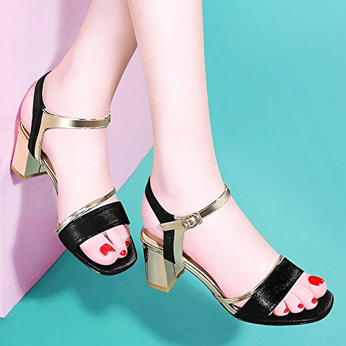 Black Sandals Women'S Summer New Fashion heels Heels Thick Jqdyl High Button 7qRHwpg