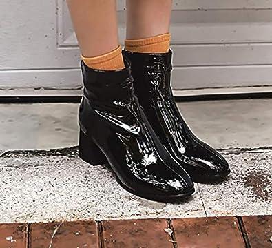 MissSaSa Femmes Bottes Chelsea Vernis(Noir) (34 EU)  Amazon.fr  Chaussures  et Sacs 61a5ac4a296c