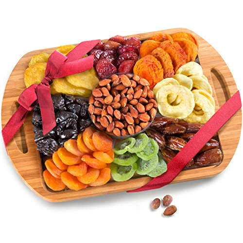 Golden State Fruit Dried Fruit and Nuts In Keepsake Bamboo Cutting Board Serving Tray with Handles (Dried Fruit Platters)
