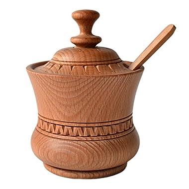 Handmade Sugar Jar Spice Bowl 400ml 13.5oz Spoon Boiled Beech Wood Eco-Friendly Kitchen Utensil