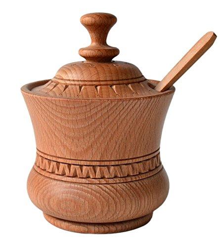 e Sugar Jar Spice Bowl 400ml 13.5oz Spoon Boiled Beech Wood Eco-Friendly Kitchen Utensil (Jar Brown Sugar)