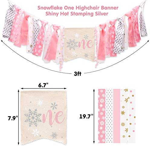 One High Chair Banner. Winter Onederland Snowflake Highchair Banner in Blue and Silver