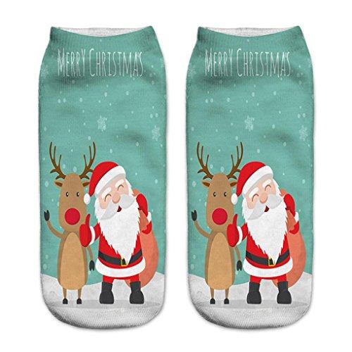 Price comparison product image HOT SALE! Napoo Women Cute Christmas 3D Santa Claus Printed Socks Unisex Low Cut Ankle Cotton Socks (L)