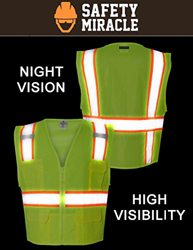 Custom Safety Reflective Mesh Vest with Zipper - Personalized Drone Pilot Vest by Safety Miracle (Image #3)