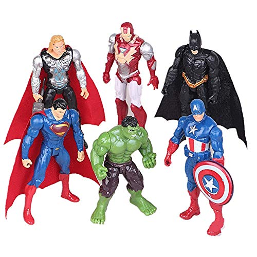 Superhero Avengers Marvel Legends Collectible Model | 6 Piece Action Figure Set | Cake Topper -
