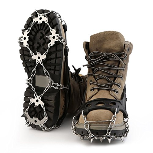 OUTAD Universal 18 Teeth Ice & Snow Cleats Crampon Stainless Steel Ice Grippers Traction Cleats For Outdoor Ski Ice Snow Hiking Climbing Traction Cleats (XL)