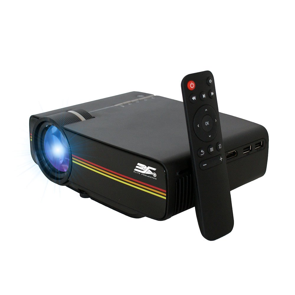 Elite Projector 120 Ansi 1200 Lumen Portable Mini LED Projector HD LCD Video Home Theater Movie Cinema Projection 35'' to 100'' Display Multimedia Gaming HDMI VGA USB AV Xbox PS4 Laptop, LED1200