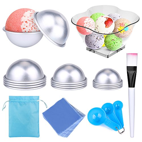 Bath Bomb Mold DIY bath bomb molds kits-12 pcs 3 size with 100 pcs Shrink Wrap Bags 1Brush 1Spoons 1Gift Bag for Crafting Your Own Fizzles