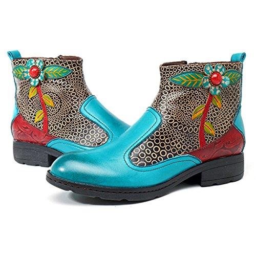 Stivali Boots Stivali Bassi Donna Mocassini Stivaletti Boots Socofy Blu Donna Martin Pelle lago Biker Cerniera con Primavera Donna Donna Casual Inverno in Stivaletti S4xpxqdw