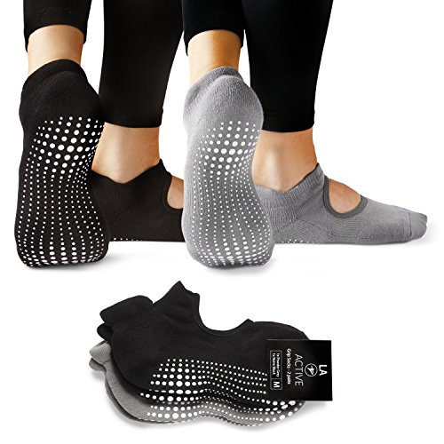 LA Active Grip Socks - 2 Pairs - Yoga Pilates Barre Ballet Non Slip (Powder Grey and Noire Black)