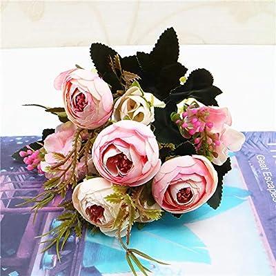 Wffo Flores Artificiales, 1 Ramo de Flores de Seda de peonía ...