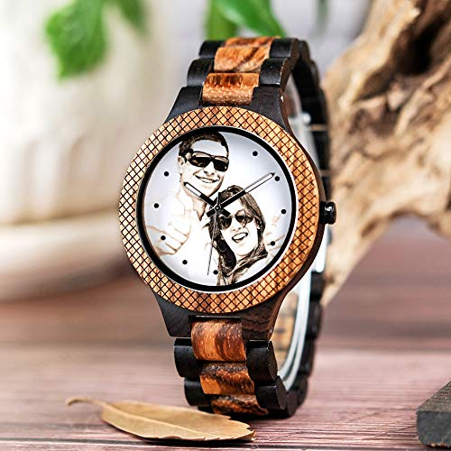 BOBO BIRD Mens Personalized Engraved Wooden Watches Quartz Casual Wristwatches for Men Family Friends Customized Gift (Zebra A)