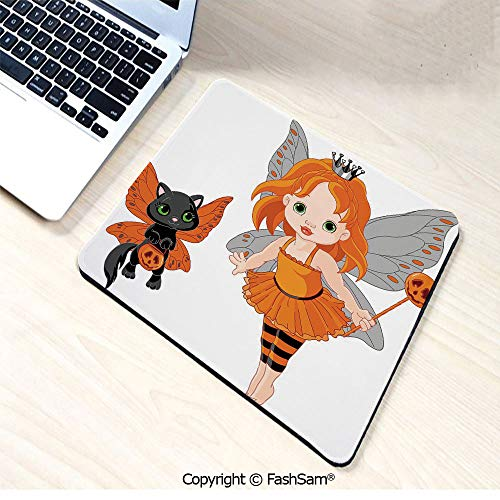 Mouse Pads Halloween Baby Fairy and Her Cat in Costumes Butterflies Girls Kids Room Decor Decorative for Home(W9.85xL11.8) ()