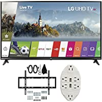 LG 49 Super UHD 4K HDR Smart LED TV 2017 Model (49UJ6300) with Slim Flat Wall Mount Ultimate Bundle Kit for 32-60 inch TVs & Transformer Tap USB w/ 6-Outlet Wall Adapter and 2 Ports