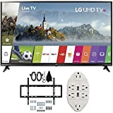 LG 49' Super UHD 4K HDR Smart LED TV 2017 Model (49UJ6300) with Slim Flat Wall Mount Ultimate Bundle Kit for 32-60 inch TVs & Transformer Tap USB w/6-Outlet Wall Adapter and 2 Ports