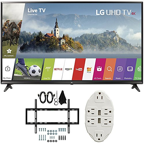 LG 49' Super UHD 4K HDR Smart LED TV 2017 Model (49UJ6300) with Slim Flat Wall Mount Ultimate Bundle Kit for 32-60 inch TVs & Transformer Tap USB w/ 6-Outlet Wall Adapter and 2 Ports