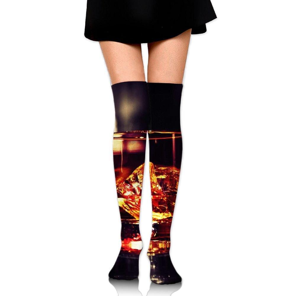 Wine Glass Pattern Over The Knee Long Socks Tube Thigh-High Sock Stockings For Girls & Womens