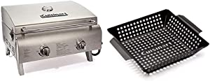 Cuisinart CGG-306 Chef's Style Propane Tabletop Grill, Two-Burner, Stainless Steel & CNW-328 11-Inch, Non-Stick Grill Wok, 11 x 11