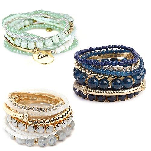 Finrezio 3 Sets Bohemian Beaded Bracelets for Women Multilayer Stretch Stackable Bracelet Set Multicolor Jewelry (Multicolor Set B)