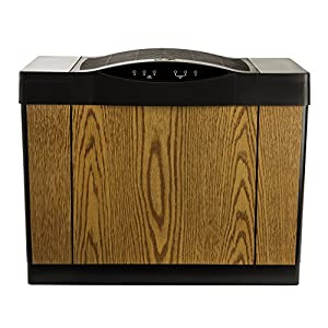 AIRCARE 4DTS 300 Variable-Speed Console-Style Evaporative Humidifier, Light Oak, Black Trim