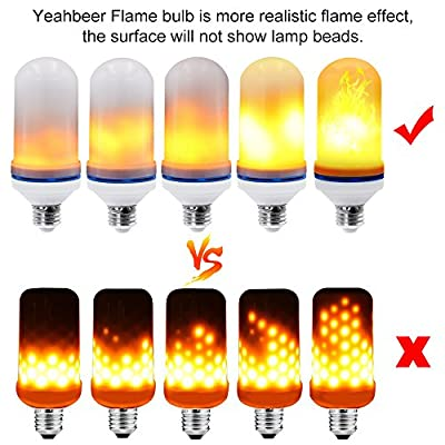 [Upgrade] Yeahbeer LED Flame Effect Light Bulb, Simulated Decorative Christmas Lights Atmosphere Lighting Fire Bulbs Vintage Emulation Flaming for Bar/ Festival Decoration