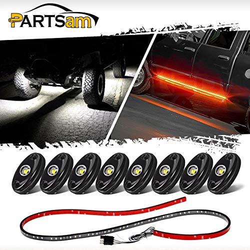 (Partsam 8PCS 8 Pods LED Rock Light Kits White + 48
