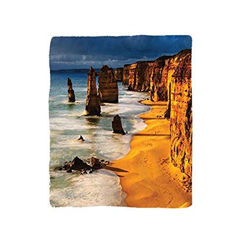 VROSELV Custom Blanket Seaside Collection Twelve Apostles Australia Sunset Great Ocean Road Coast Cliff by Sea Picture Bedroom Living Room Dorm Gold Navy (Gift Baskets Gold Coast Australia)