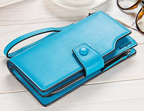 Leather Blue Handbag Wallets Purse E Wallet Blue Winsterch Organizer Women Credit Card Clutch qPHEzcwg