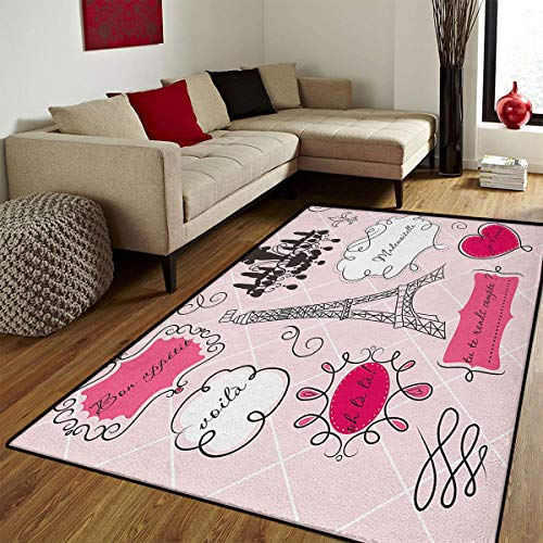 (Teen Room,Bath Mats for Bathroom,Doodle Frames in French Style Rococo Baroque Lantern Mademoiselle Print,Floor Mat Pattern,Hot Pink and Black,6.6x9)