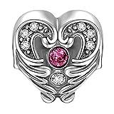 SOUFEEL Swarovski Crystal Heart in Wings Charm 925 Sterling Silver Fit European Bracelets фото