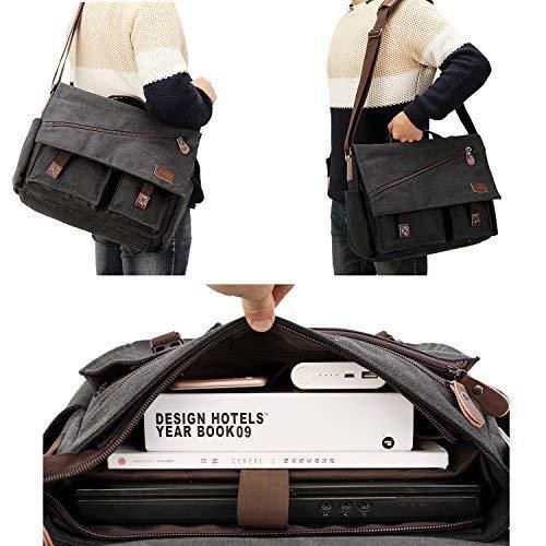 Classic Messenger Bag 15 15.6 Inch Vintage Canvas Shoulder Bag with Water Bottle Holder for All Purpose Use