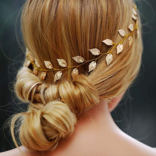 (Yean Wedding Headband Gold Leaf Bridal Headpieces for Bridesmaid and Flowergirls (15.7 Inches) (Gold))