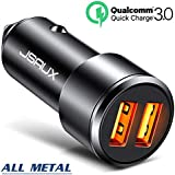 Car Charger, JSAUX 3A Dual USB Ports 36W Fast Car Adapter Aluminum Metal Compatible with Quick Charge 3.0, Samsung Galaxy S9 S8 Plus Note 9 8 S7, iPhone X 8 7 6S 6, iPad, LG V30 G5 G6 V20, Moto Black