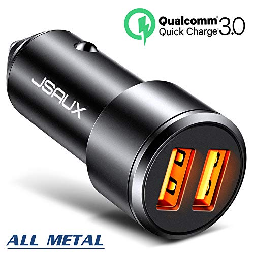 Car Charger, JSAUX 3A Dual USB Ports 36W Fast Car Adapter Aluminum Metal Compatible with Quick Charge 3.0, Samsung Galaxy S9 S8 Plus Note 9 8 S7, iPhone X 8 7 6S 6, iPad, LG V30 G5 G6 V20, Moto Black by JSAUX
