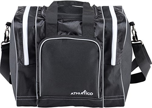 Athletico Bowling Bag for Single Ball - Single Ball Tote Bag With Padded Ball Holder - Fits a Single Pair of Bowling Shoes Up to Mens Size 14 (Black) Retro Roller Ball