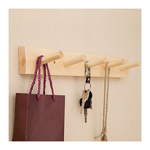 (Jiyaru Wooden Coat Rail Rack Hook Wall Mounted Clothes Hanger Hat Holder Burlywood)