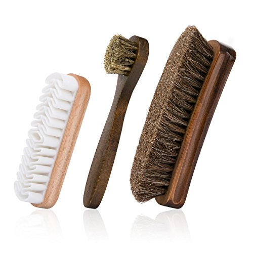 Foloda Shoe Brush with Horsehair Bristles,Dauber Suede Brush for Leather, Boot (Best Hair Brush For Short Hair)