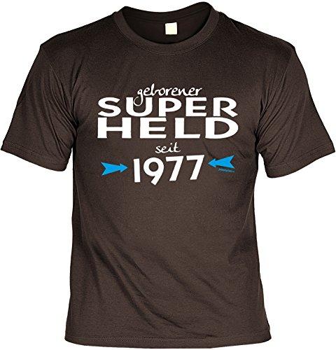 T-Shirt - Geborener Superheld Seit 1977 - lustiges Sprüche Shirt als Geschenk zum 40. Geburtstag