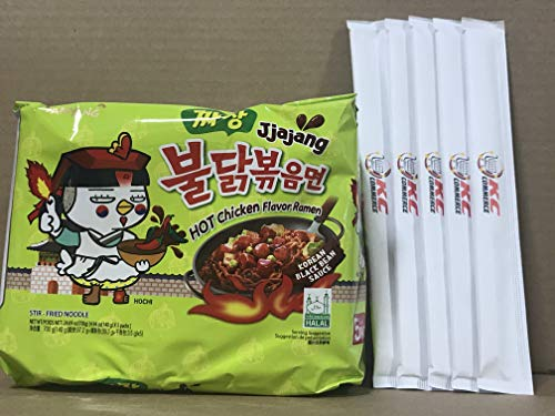 Samyang Spicy Hot Chicken Flavor Ramen Spicy Noodles 140g 5 pack with Chopsticks Bundle By KC Commerce (Jjajang)