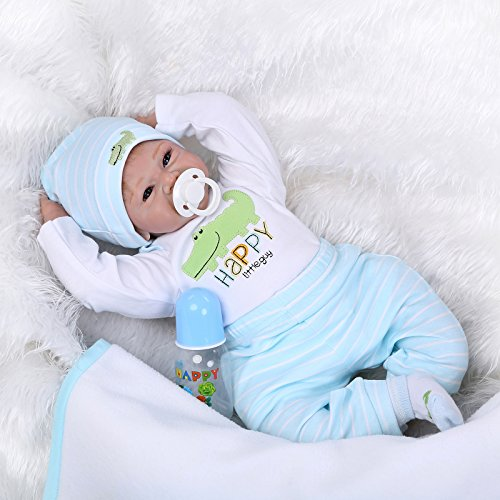 NPKDOLLS Reborn Baby Doll Soft Silicone Vinyl Silicone Babies 22inch 55cm Lovely Lifelike Cute Baby Boy Girl Toy Weighted Doll Gift for Children Birthday gift Christmas gift